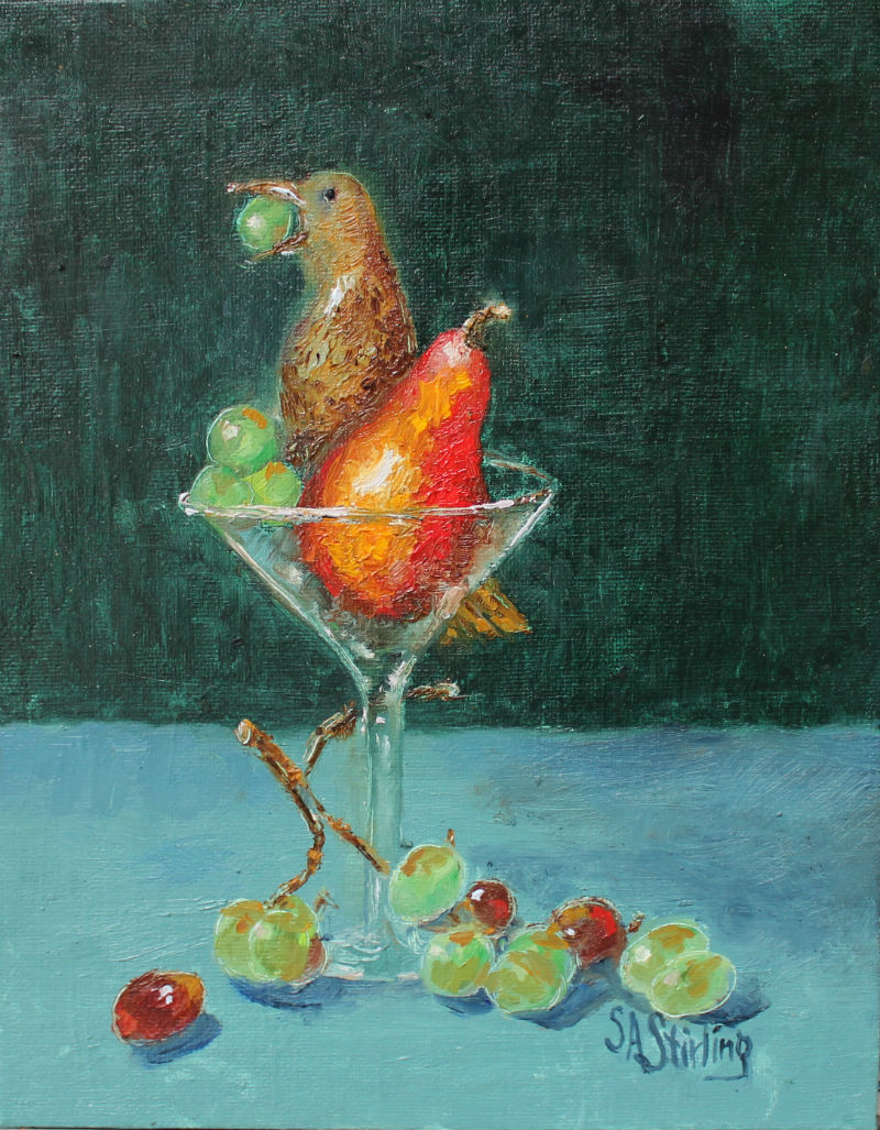 Flicker Pear Grapes Champayne Glass Port